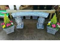 Garden benches, planters, hanging baskets, ornaments