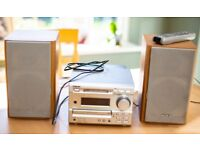 Sony CD mini disc stereo system complete remote control and speakers