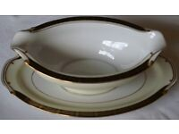 Wako China Gravy/Sauce Boat with attached underplate - Design 2385