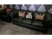 Stunning Chesterfield 3 Seater Sofa & Matching Chair Green Leather Suite - Uk Delivery