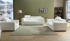 LORD SELKIRK FURNITURE - Charlise - 3PC Sofa, Loveseat and Chair in Leather Gel Color White - $1999.00