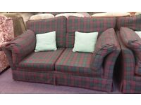 SOFA BED, ARM CHAIR AND FOOTSTOOL
