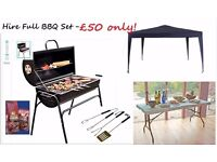 BBQ Grills for rent or Hire BBQ Set includes: BBQ Grill BBQ Tools Bag of Coal Table Gazebo £50