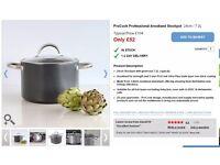 ProCook Professional Anodised Stock Pot & Glass Lid 24cm / 7.2L
