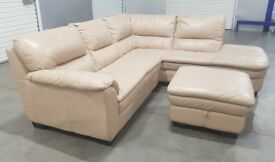 DFS - Real Leather L-Shape Corner Sofa with Pouff/storage/footstool
