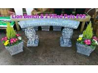 Concrete Benches Pots & Garden Ornaments