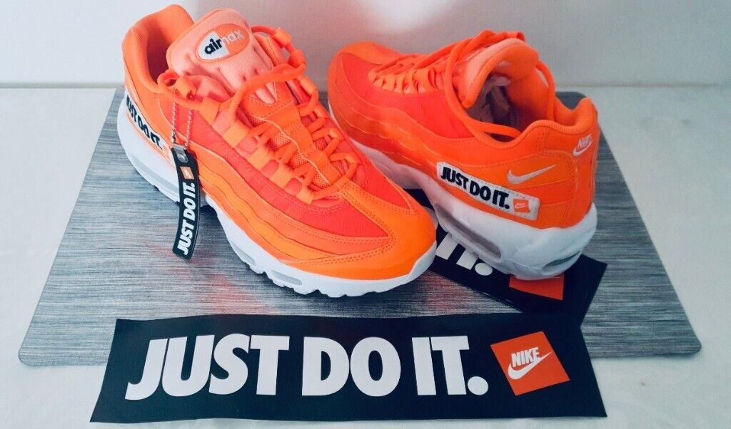 outlet store d0732 15ba4 Nike Air Max 95 SE Total Orange   White - Black Just Do It Shoes Size UK 6   US 7