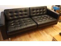 2 Ikea sofas (price per sofa)- LANDSKRONA Three-seat - black with metal legs