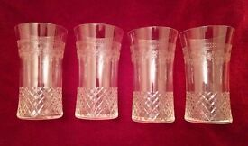 *Vintage/Antique Glasses: A Set of 4: Engraved & Cut Glassware Exquisite (Lightweight): Collectors