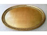 NEW Luxury Oval Tray: Gold Distressed Marble Effect & Embossed Tray: Italian Designer. Tableware