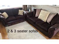DFS 2 & 3 seater sofa - chocolate