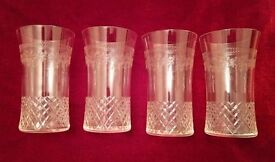 *Vintage/Antique Glasses: A Set of 4: Engraved & Cut Glassware Exquisite (Lightweight): Collectables