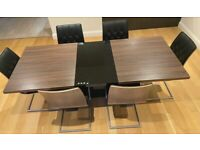 Harvey's Walnut Dining Table Extendable w/ 6 Chairs