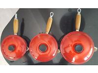 Le Creuset Cast Iron 3 piece Saucepan Set (Cerise)