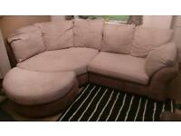 Large corner sofa Cream / Brown