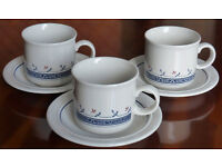 Six Biltons Coloroll Blue Greek Cups and Saucers