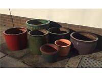 Set of ceramic plant pots / planters (x7)