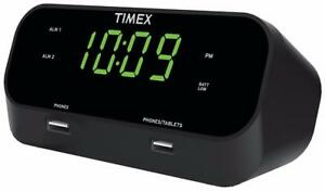 Timex T129B RediSet Dual Alarm Clock with Dual USB Charging and Extreme Battery Backup - Black