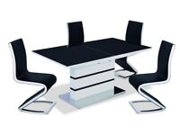 High Gloss Dining Table White with Black GlassTop + 4 PU Chrome Chairs