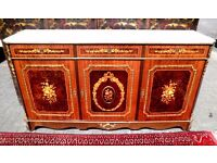 SPECTACULAR FRENCH EMPIRE LOUIS XV1 MARBLE TOP MARQUETRY KING WOOD ORMOLU SIDEBOARD BUFFET