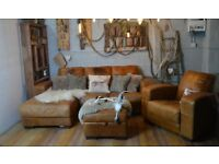 Vintage Distressed Leather Corner Sofa Couch Suite + Armchair Tan