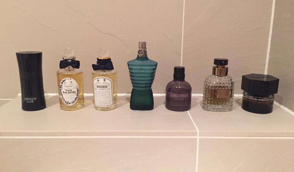 Job lot of 7 partially used designer / niche fragrances. Penhaligons, YSL, Valentino, Armani, etc