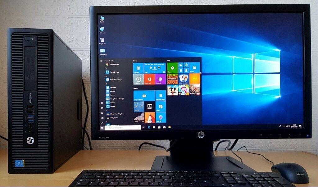 "HP Elitedesk 800 Quad Core i5-4590 PC Setup+HP WARRANTY+22"" Full LED,Wifi,win 10 Desktop ..."