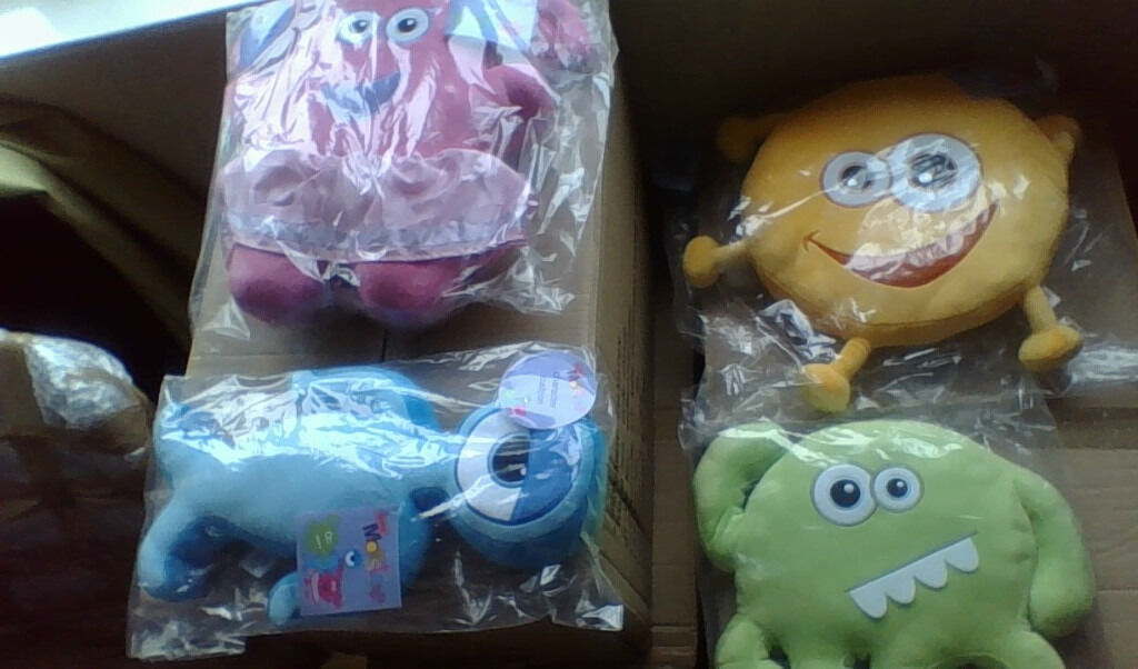 JOBLOT/CAR BOOT - My Mini Monsters cushions/teddys x 60 - in packaging