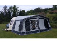 Dorema Garda 240 De Luxe Size 9 Caravan Awning with Carbon Poles, ground sheet and storm strap.