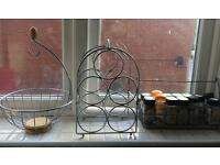 Metal wine rack, spice rack and fruit bowl