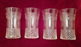 Vintage/Antique Glasses: A Set of 4 Engraved & Cut Glassware Exquisite (Light weight) Collectors