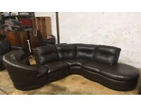 Chocolate brown leather corner sofa with swivel movement.. Excellent condition. Must collect. £450