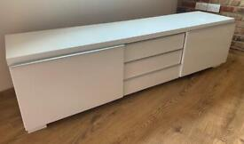 White High Gloss Ikea TV Media Console Unit Gaming Storage