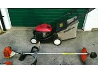 Honda petrol 19inch lawnmower hrg 41c with Stihl fs85 petrol strimmers