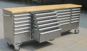 NEW 24 DRAWER STAINLESS STEEL 8 FT WORK BENCH TOOL STATION GARAGE STORAGE ROLLER