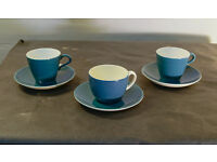 Poole Two Tone Cups and Saucers