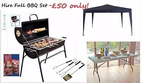 BBQ Grill @ £20 only or BBQ Set with gazebo + table + bbq grill & free coal bag & table cover £50