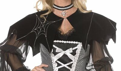 *CLEARANCE* Halloween Black Spiderweb Cap Witch Women's Fancy Dress Costume