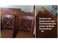 Dining table and 4 chairs, can easily be fixed
