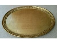 *New Luxury Gold Oval Distressed Marble Effect & Embossed Tray: Italian Design. Tableware: Christmas