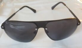 Emporio Armani Men's Retro Sunglasses Black Frame and Lens