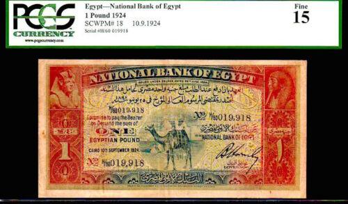 "EGYPT P18 ""CAMEL NOTE"" 1 EGYPTIAN POUND CAIRO GRADED PCGS 15! RARE!!"