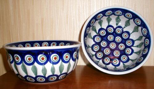 Boleslawiec Polish Pottery Soup Cereal BOWL SET of 2 Peacock 20 oz NEW