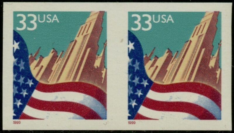 "#3280b ""33¢ Flag"" Imperf Pair Major Error With Aps Cert Bq1440"