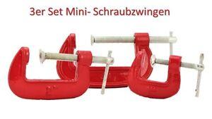 3er Set Schraubzwinge Mini Klein Mini-Schraubzwingen Zwinge Klemme 25, 50, 75 mm