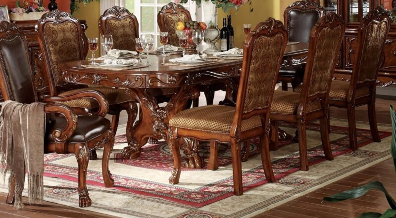 """Dresden Antique Style 76""""-108"""" Double Pedestal Dining Table Cherry Oak Brown,red"""