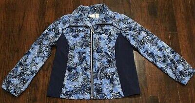 Women's Chico's Zenergy Full Zip Light Weight Jacket Size 1 Blue Paisley BB1399