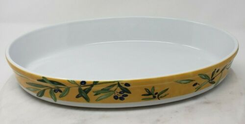 """Ouliveiro Guy Degrenne 13"""" Oval Baking Dish Yellow White Olive Branches Hungary"""