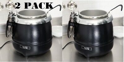 2 Pack Avantco 11 Qt Black Food Soup Kettle Pot Warmer Commercial Restaurant New