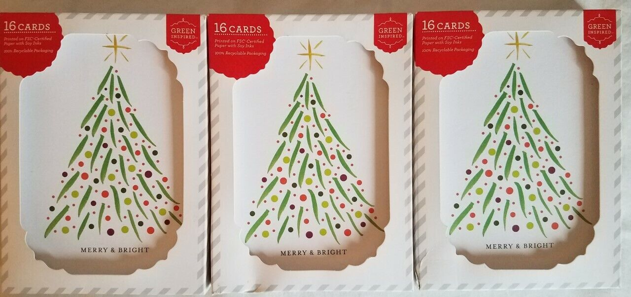 Lot Of 3 Boxes - 48 Total Christmas Cards Holiday Tree Green Inspired  - $14.95